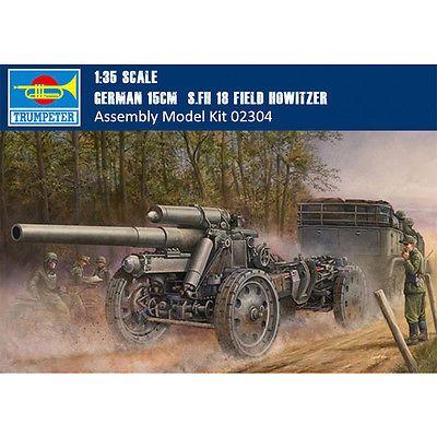 Trumpeter 1//35 02304 German 15cm sFH 18 Field Howitzer plastic model kit