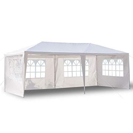 Boylymia 10 X 20 Outdoor White Waterproof Gazebo Canopy Tent With 6 Removable Sidewalls And Windows Heavy Duty Tent For Party Wedding Events Beach Bbq Waterproof Gazebo Canopy Tent Gazebo Canopy
