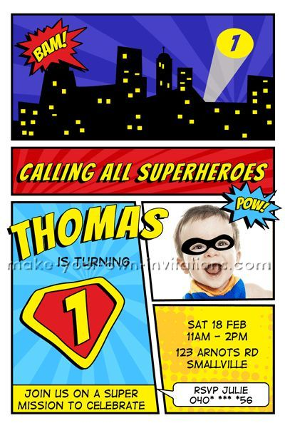 Homemade Superhero Invitations With