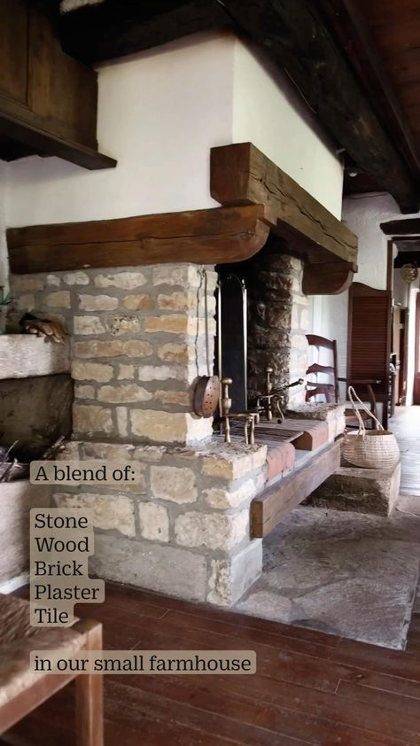 A blend of: Stone + Wood Brick + Plaster + Tile in our small farmhouse entryway