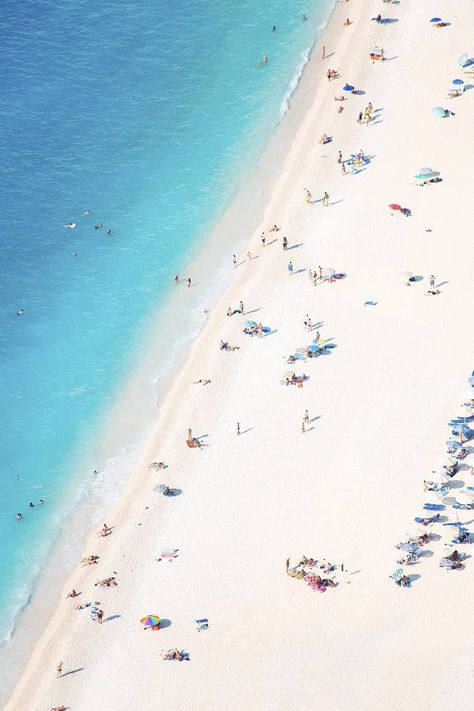 Original Beach Photography by Teodora Djordjevic   Photorealism Art on Paper   Aerial View of a Mediterranean Beach # 2 - Limite