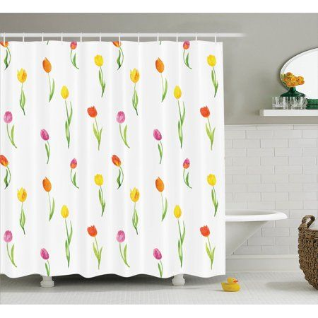 Watercolor Flower Decor Shower Curtain Set Colorful Tulips