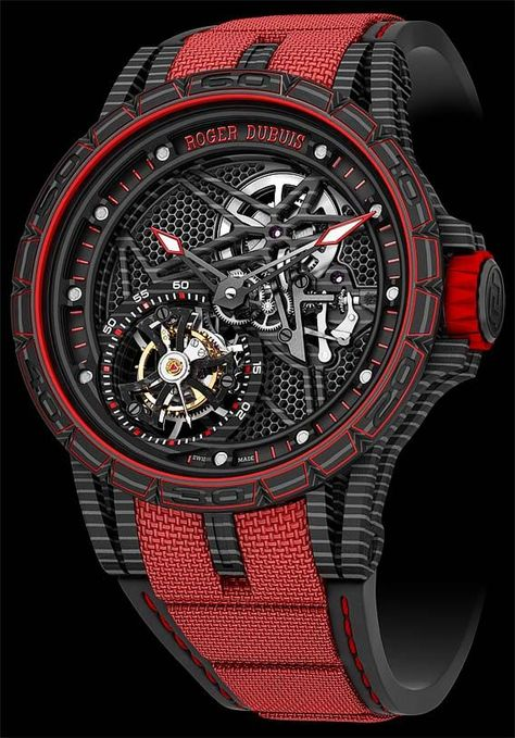 The Watch Quote: The Roger Dubuis Excalibur Spider Carbon Skeleton Flying Tourbillon watch - Honeycomb dial decor inspired by automobile radiator grilles