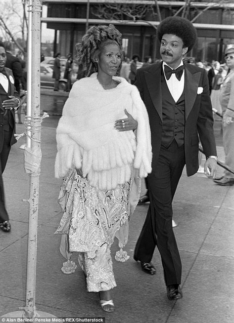 Flashback: She is survived by adult children Clarence Franklin, 63, Edward Franklin, 61, Ted White Jr., 54 and Kecalf Cunningham, 48; pictured heading to the Academy Awards in 1975