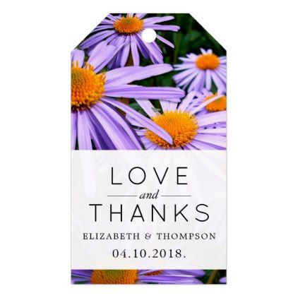 Thank You Aster Flowers Blossoms Purple Gift Tags Purple Floral Style Gifts Flower Flowers Diy Wedding Favor Tags Purple Gift Purple Wedding Inspiration
