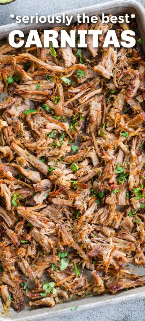 Slow Cooker Pork Carnitas are perfectly crispy on the outside with a juicy center.It's so easy to make authentic restaurant quality Mexican pulled pork! Mexican Pulled Pork, Pulled Pork Tacos, Mexican Meat, Mexican Pork Tacos, Slow Cooker Recipes, Crockpot Recipes, Cooking Recipes, Healthy Meat Recipes, Healthy Slow Cooker
