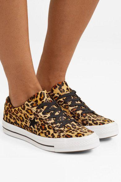 0b1fbc12cd Converse | One Star leopard-print faux calf hair sneakers | NET-A-PORTER.COM