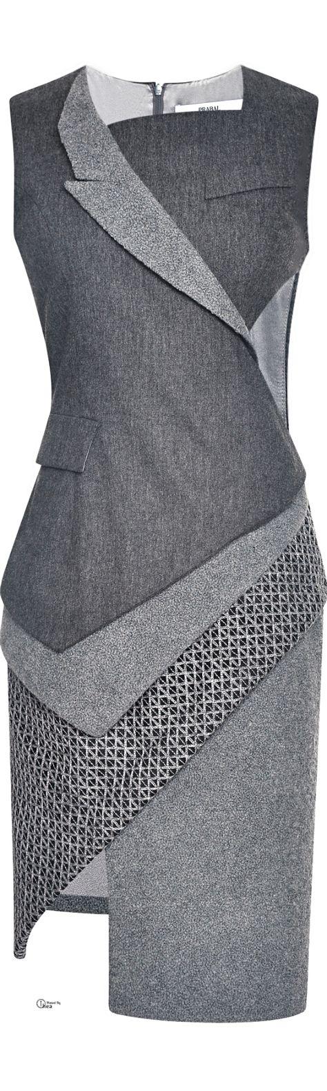 Prabal Gurung FW 2014 ● Wool Flannel Asymmetric Dress