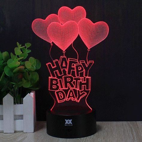 3D Happy Birthday LED Light