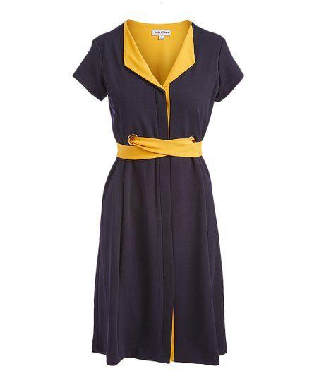 Shelby Palmer Navy Mango Mojito Tie Waist Shirt Dress Women Zulily