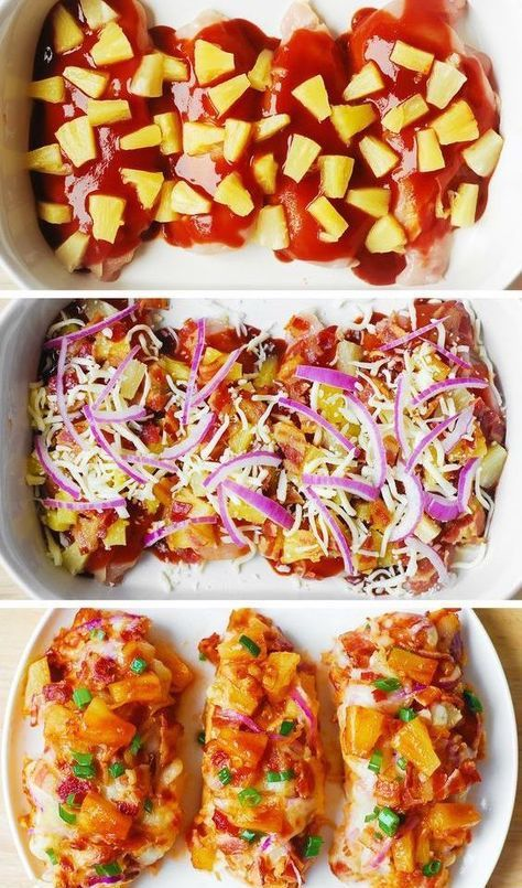 Bacon Pineapple BBQ Chicken with Red Onions and Mozzarella Cheese – a delicious way to cook chicken breasts and keep them moist, flavorful and far from boring! #bacon #chicken #chickenrecipes #chickendinner #dinnerideas #BBQ #BBQchicken #mozzarella #mozzarellachicken