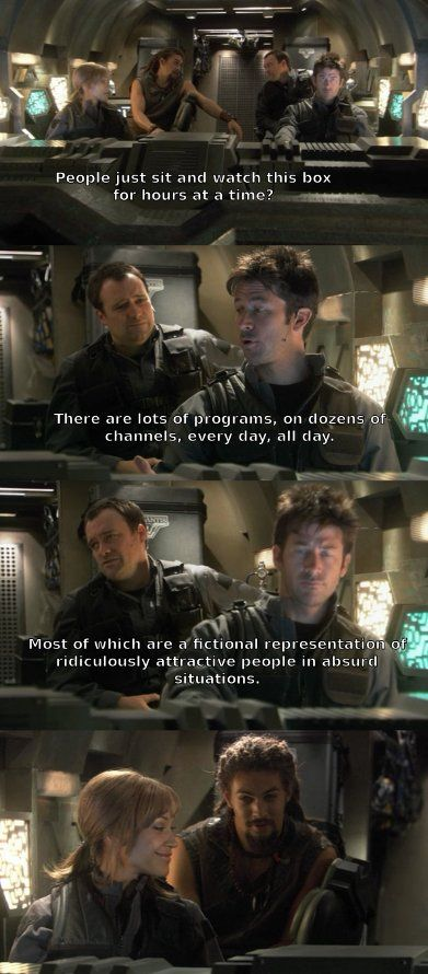 Stargate Atlantis - John and Rodney explaining TV to Teyla and Ronan.