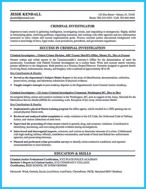 Federal Criminal Investigator Resume