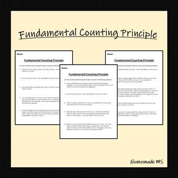 Fundamental Counting Principle Worksheets Word Problems Different Words Principles