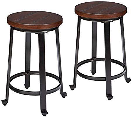 Amazon Com Ashley Furniture Signature Design Challiman Bar Stool Counter Height Set Of 2 Rusti Bar Stools Counter Height Bar Stools Counter Bar Stools