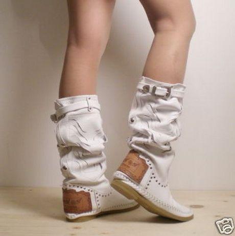 stivali estivi bianco in pelle