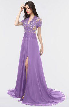ColsBM Eliza Hyacinth Elegant A line V neck Short Sleeve Zip