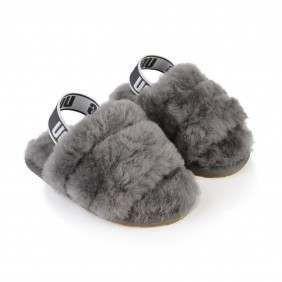 UGG Girls Grey Fluff Yeah Slide