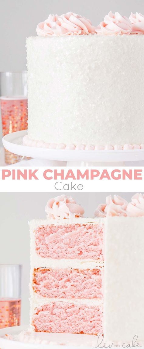 This Pink Champagne Cake is the perfect way to celebrate any occasion or holiday! A champagne infused cake with a classic vanilla buttercream. Tolle Desserts, Köstliche Desserts, Delicious Desserts, Dessert Party, Vanilla Buttercream, Vanilla Cake, Cupcake Recipes, Cupcake Cakes, Shoe Cakes