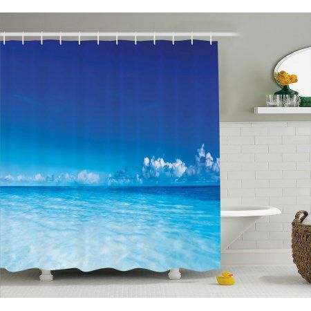Landscape Shower Curtain Ocean Scenery Deep Sea Beach Hot Summer