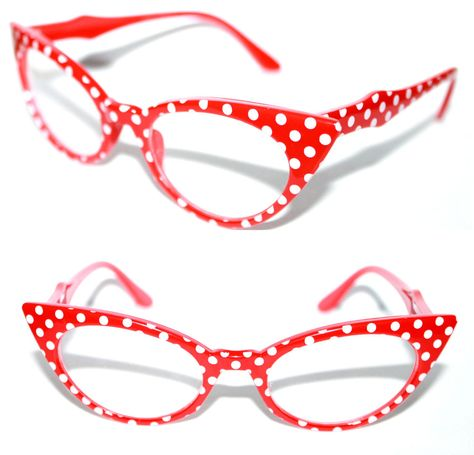 98ddf36115a Cat Eye small Clear Lens Eye Glasses Vintage Red Frame White Polka Dots Pin  Up  Unbranded  CatEye