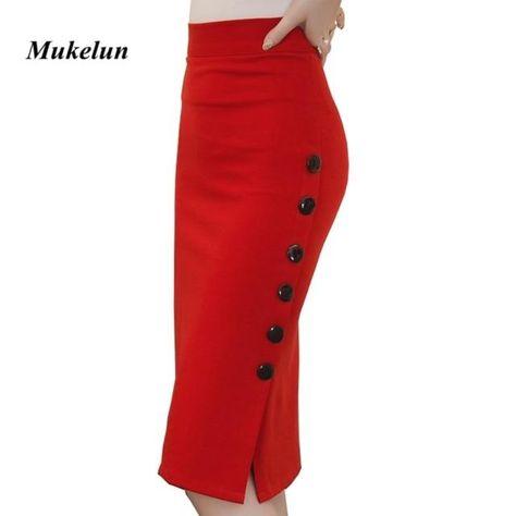 Women Slit Button Slim Midi Skirt - Red / 5XL