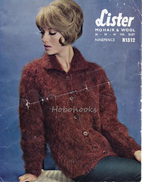 16e2fac6b Ladies mohair cardigan   jacket with collar - 36 to 40 inch bust - mohair  yarn