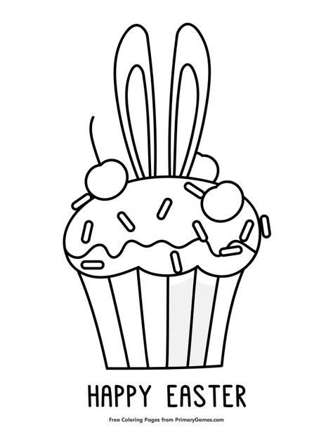 Easter Cupcake Coloring Page Free Printable Ebook Cupcake