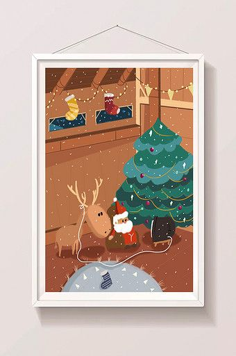 2018 Christmas Santa Claus Tree Elk Illustration Illustration Psd Free Download Pikbest Merry Christmas Poster Christmas Illustration Illustration