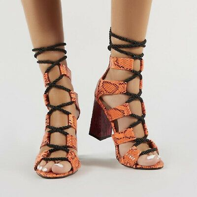e8d0834853490 eBay Advertisement) Women Heeled Sandals Bandage 10 CM Lace-Up Ankle ...