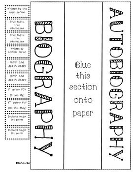 Biography and Autobiography sort with foldable