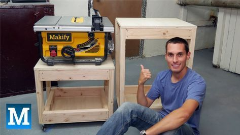 How To Make Table Saw And Work Carts Youtube Avec Images Outils