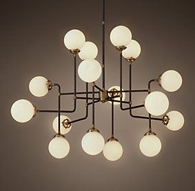 Restoration Hardware Bistro Globe Milk Glass 16 Light Chandelier