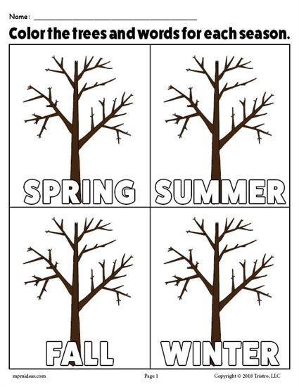 - The 4 Seasons Printable Coloring Page! Seasons Kindergarten, Seasons  Worksheets, Seasons Activities