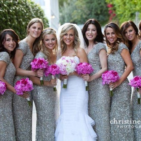 Sparkly bridesmaid dresses! unique!
