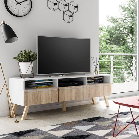 Meuble Tv Meuble Salon Lavello Bois 150 Cm Blanc Mat Effet Chene Sans Led Style Scandinave Style Nordique En 2020 Meuble Meuble Salon Et Meuble Hifi