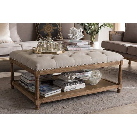 Baxton Studio Carlotta Oak Beige Linen Coffee Table Ottoman With