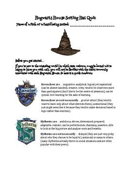 Detailed Hogwarts Sorting Hat Quiz Answer Key Includedfor Harry Potter And The Sorcerer S Stone Unit Sorting Hat Quiz Sorting Hat Hogwarts Sorting Hat Quiz