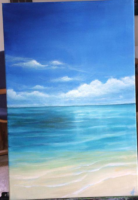 Meer Strand Acryl Gemälde Leinwand Holz Keilrahmen 40 X 60