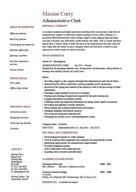 Administrative clerk resume, clerical, sample, template, job - clerical resume skills
