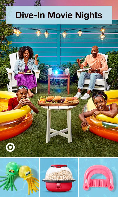Have a dive-in movie night with kiddie pools, outdoor games, party snacks  movie ideas the whole fam can enjoy.