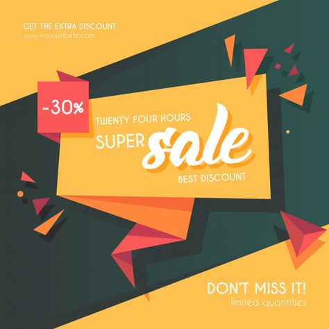 Modern origami sale banner Free Vector