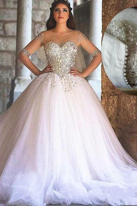 Bling Bling Wedding Dress Ball Gown Wedding Dresses White Wedding Dresses Long Sleeve Wedding Dres Ball Gown Wedding Dress Wedding Dress Long Sleeve Gowns