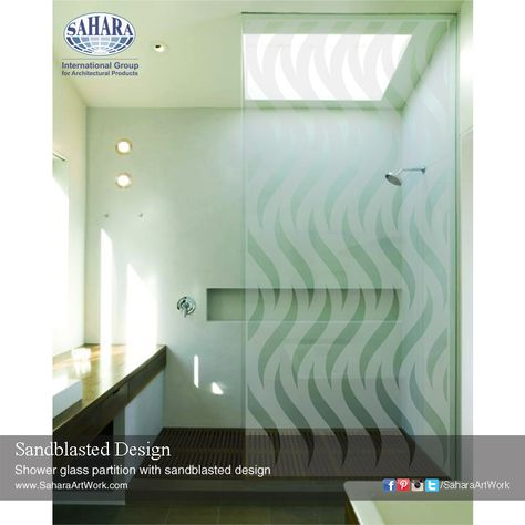 Shower Glass Partition With Sandblasted Design Glass Shower Glass Partition Shower Enclosure