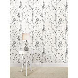 Nuwallpaper Gray Woods Peel And Stick Wallpaper The Home Depot Canada Wood Wallpaper Peel And Stick Wallpaper Blue And White Wallpaper