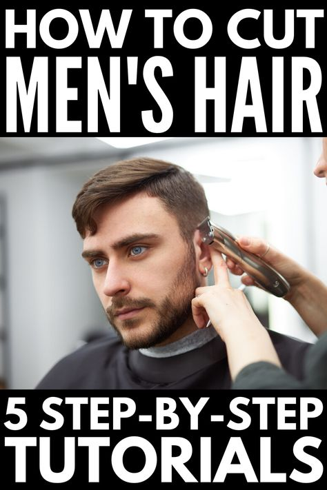 If you& looking for tutorials to teach you how to cut men& hair at home, we& sharing the best tips from barbers plus step by step videos! Cut Own Hair, Cut Hair At Home, How To Cut Your Own Hair, How To Fade Hair, Boy Haircuts Long, Boy Hairstyles, Haircuts For Men, Wedding Hairstyles, Modern Haircuts