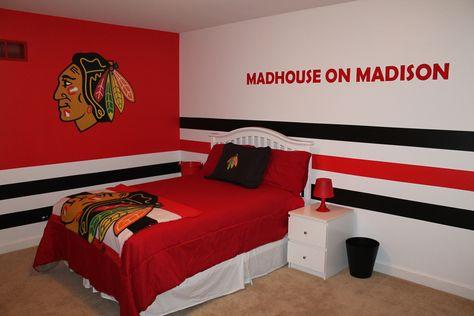 Chicago blackhawks stuff to get on pinterest chicago for Chicago blackhawk bedroom ideas