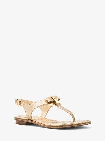 Metallic leather sandals, Leather