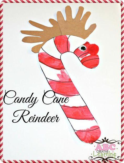 Kids Handprint Candy Cane Reindeer Craft