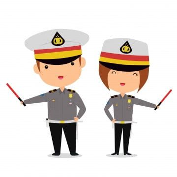 Cute Indonesian Traffic Police Couple Character In Cartoon Style Boy Hat Kawaii Png And Vector With Transparent Background For Free Download Cartoon Styles Kawaii Png Couples Characters